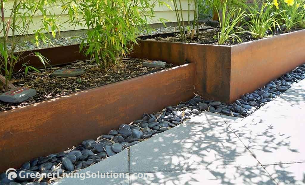 Rusted Steel Planter and Bamboo