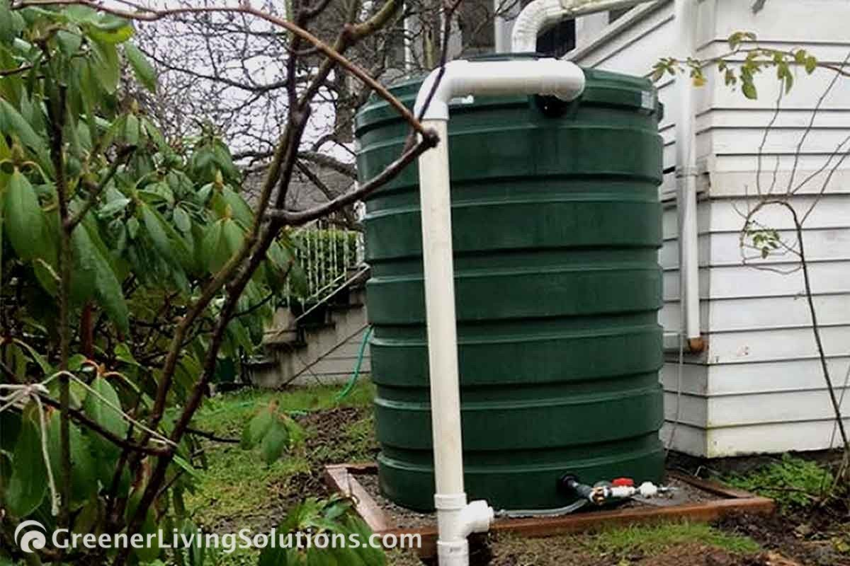 Stormwater Planning Systems - rain-catching cistern on side of a house
